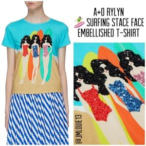 Alice + Olivia Rylyn Surfing Stace Embellished Tee